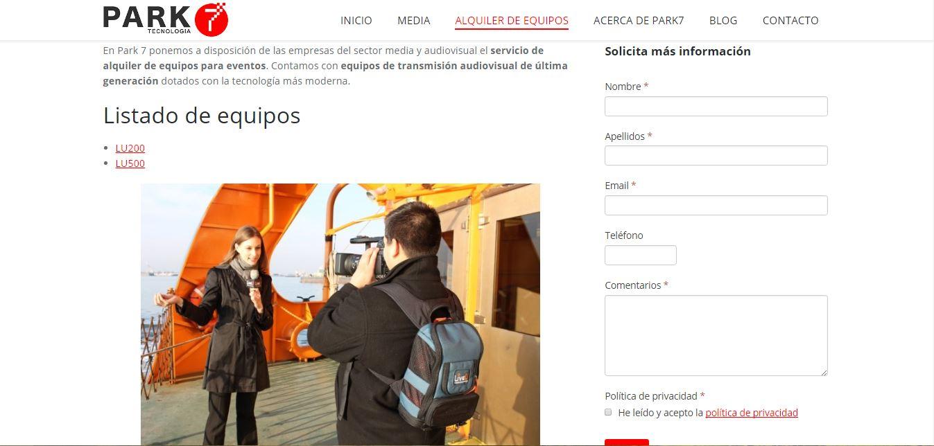 Diseño Página Web Park 7