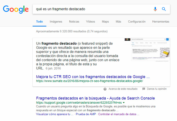 Featured snippet parrafo
